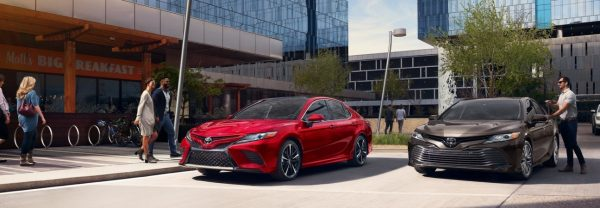 Two 2019 Toyota Camry models parked next to each other.